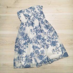 Gap silk blend blue white strapless dress